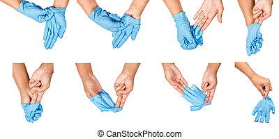 steg, av, hand, kasta bort, blå, disponibelt, gloves.