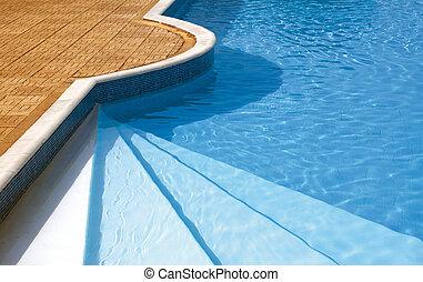 steg, till, den, simning, pool., krusade vatten, under, solljus