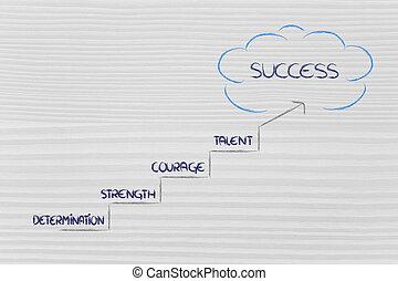 steg, till, framgång