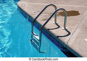 stege, slå samman, simning