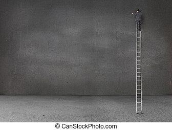 stege, stående, gigant, tom, affärsman, rum