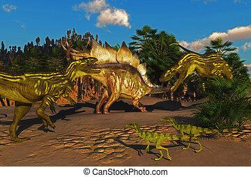 Stegosaurus Battle with Torvosaurus