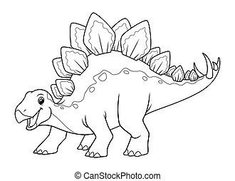 Stegosaurus Cartoon Illustration BW