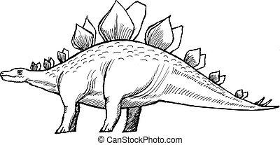 stegosaurus - hand drawn, vector, sketch illustration of...