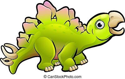 Stegosaurus Dinosaur Cartoon Character - A stegosaurus...