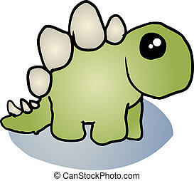 Stegosaurus dinosaur cartoon - Fat rounded cute stegosaurus...
