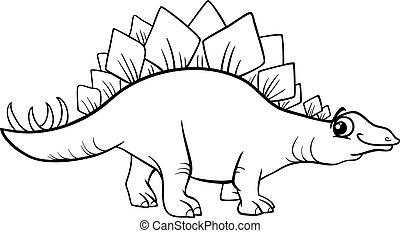 stegosaurus dinosaur coloring page - Black and White Cartoon...