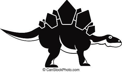 Stegosaurus dinosaur icon, simple style