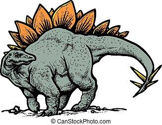 stegosaurus dinosaur isolated on the white background