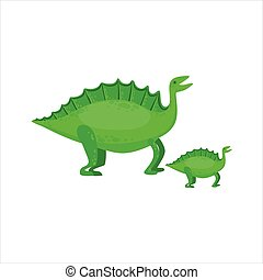 Stegosaurus Dinosaur Prehistoric Monster Couple Of Similar Specimen Big And Small Cartoon Vector Illustration