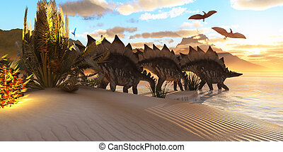 Stegosaurus Dinosaur - Several Stegosaurus dinosaurs browse...