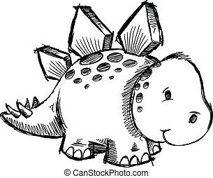 Stegosaurus Dinosaur Sketch doodle