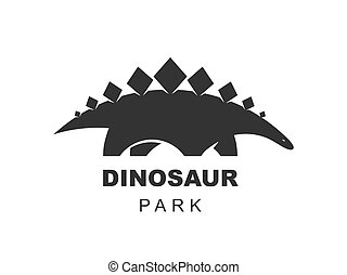Stegosaurus dinosaur vector logo design element. Jurassic park world. Dinosaurs silhouette isolated on white background. Dino icon web site template.