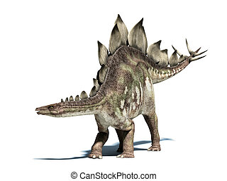 stegosaurus, dinosaur., vrijstaand, af)knippen, witte , path...