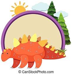 stegosaurus, grens, ronde