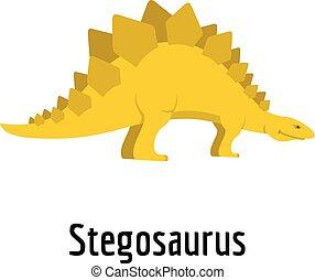 Stegosaurus icon, flat style.
