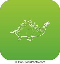 Stegosaurus icon green vector