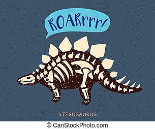 stegosaurus, illustrazione, dinosauro, vettore, fossil.,...