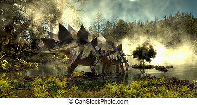 Stegosaurus in Swamp