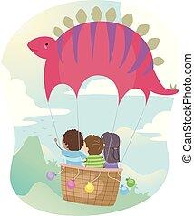stegosaurus, kinder, stickman, balloon, luft, heiß