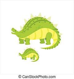 stegosaurus, prehistórico, espécimen, monstruo, grande, ...