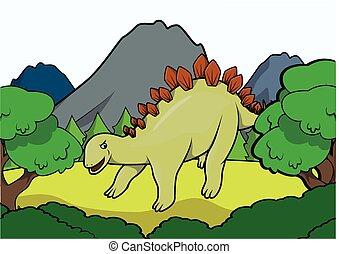 Stegosaurus Prehistoric scene