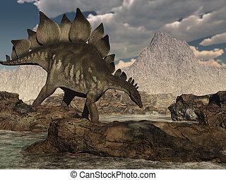 A stegosaurus wanders across a rocky landscape - 3D render.