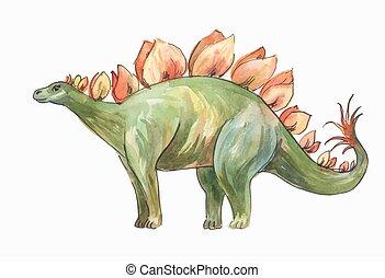 stegosaurus, watercolor drawing - Stegosaurus. Watercolor...