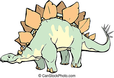 Stegosaurus with a pleasant expression and yellow...
