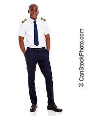 stehen, fluggesellschaft, hintergrund, afrikanisch, weißes, pilot