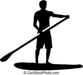 stehen, silhouette, paddelnd, auf