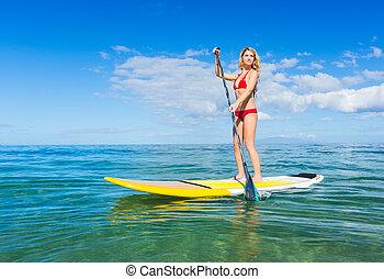 stehen, surfen, hawaii, paddel, auf