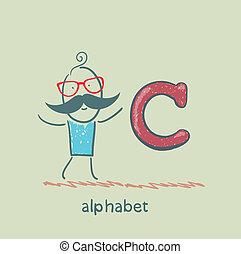 stehende , alphabet brief, mann