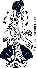 stehende , aphrodite, göttin, silhouette, figur, mithology, freigestellt, seashell., m�dchen