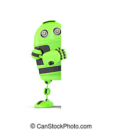 stehende , ausschnitt, banner., isolated., enthält, roboter, hinten, leer, pfad