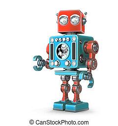 stehende , ausschnitt, isolated., enthält, robot., retro, pfad