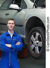stehende , automechaniker, glücklich