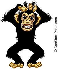 stehende , böser , schimpanse, karikatur