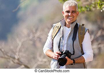 stehende , berg, fotograf, alter, mittler, tal