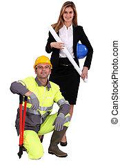 stehende , blaues, frau, arbeiter, nächste, professionell, kragen