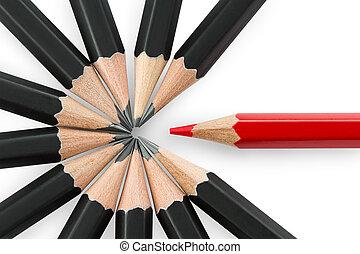 stehende , bleistift, bleistifte, schwarzer kreis, rotes , heraus