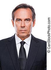 stehende , fällig, formalwear, schauen, sicher, während, fotoapperat, businessman., gegen, hintergrund, porträt, weißes, mann