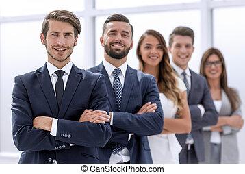 stehende , firma, angestellte, zusammen