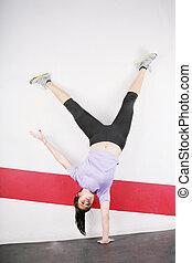 stehende , flexibel, m�dchen, hand, eins