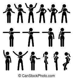 stehende , frau, handlungen, movements., grundwortschatz