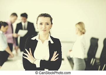 stehende , frauenunternehmen, sie, hintergrund, personal