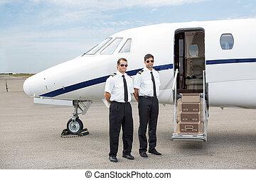 stehende , front, piloten, private düse