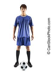stehende , fußball, junger, spieler, asiatisch, fußball, mann