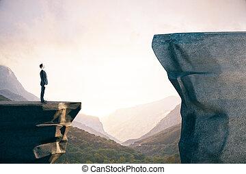 stehende , geschäftsmannsklage, mountain.