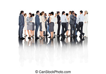 stehende , geschäftsmenschen, zusammengesetzt, viele, bild, linie